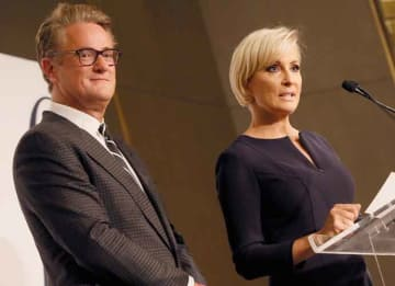 NEW YORK, NY - SEPTEMBER 08: MSNBC hosts Joe Scarborough and Mika Brzezinski present an award onstage during the Daily Front Row's Fashion Media Awards at Four Seasons Hotel New York Downtown on September 8, 2017 in New York City. (Photo by...