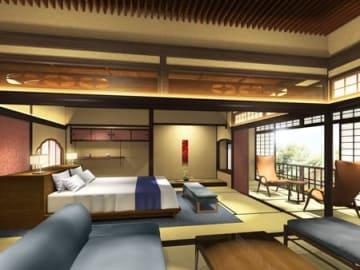 築100年以上の建物を改装したホテルの客室イメージ図(京都市東山区)