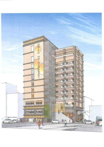 ひぐちグループが長崎市築町に建設するホテルの完成イメージ図(同グループ提供)