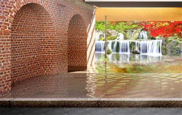 南禅寺水路閣をイメージしたスパ施設の半露天風呂の完成予想図