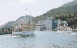 女川漁港を出発するサンマ漁船