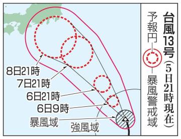 台風13号の予想進路(5日21時現在)