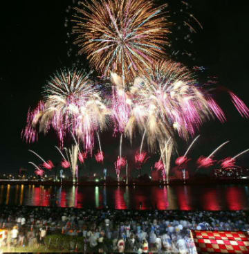 夏の夜空と川面を華やかに彩る打ち上げ花火(2枚を合成)=5日夜、大分川弁天大橋上流