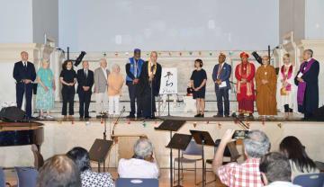 5日、米ニューヨークの教会で開かれた広島、長崎の原爆犠牲者を追悼する集会(共同)