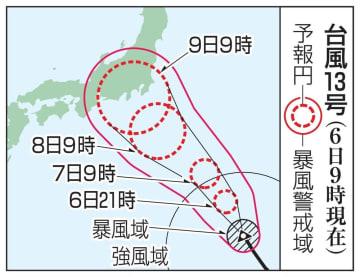 台風13号の予想進路(6日9時現在)