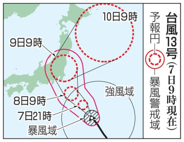 台風13号の予想進路(7日9時現在)