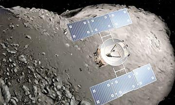 小惑星イトカワに着陸する探査機「はやぶさ」のイメージ(宇宙航空研究開発機構提供)