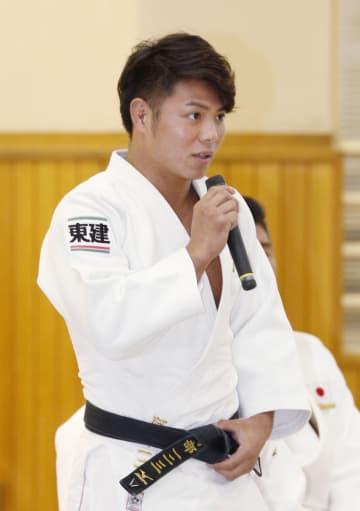 壮行式で抱負を述べる男子66キロ級の阿部一二三=7日午後、東京都文京区の講道館