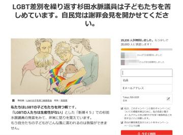 自民党の杉田水脈衆院議員に対し、当事者の親族らが謝罪と説明を求めるインターネット上の署名(画像の一部を加工しています)