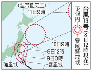 台風13号の予想進路(8日12時現在)