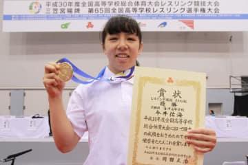 4試合をテクニカルフォールで勝ち、2連覇を達成した今井佑海(京都・海洋)