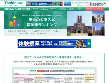 東進の大学入試偏差値ランキング