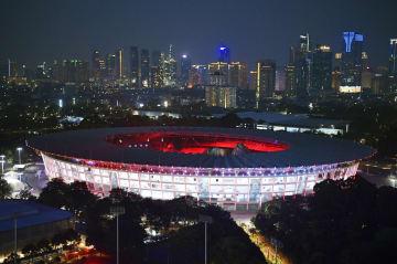 ジャカルタ・アジア大会でメイン会場となるブンカルノ競技場=5日、ジャカルタ(共同)