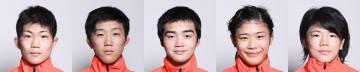 ユース・オリンピック代表に決定した(左から)藤田颯、佐々木航、山田脩、尾﨑野乃香、鏡優翔