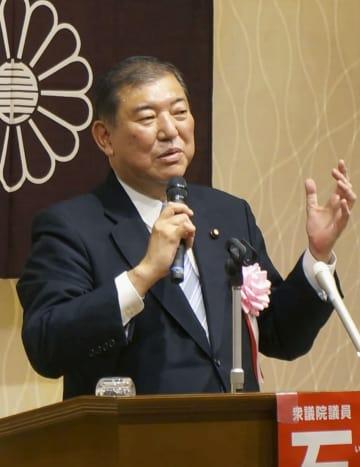 自民党総裁選への決意を述べる石破元幹事長=11日、鳥取県米子市
