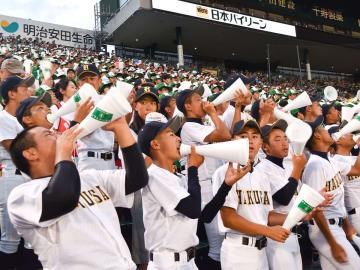【9回表、声援を送る白山高スタンド=兵庫県西宮市の阪神甲子園球場で】