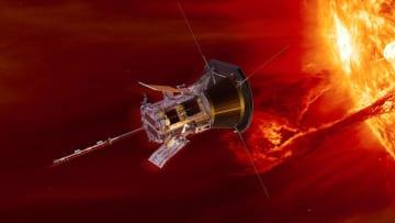 無人探査機「パーカー・ソーラー・プローブ」の想像図(NASA提供・共同)