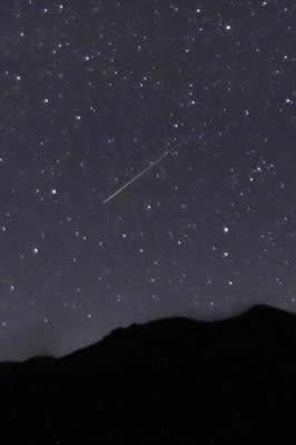 くじゅう連山上空で光跡を描いた流星群=13日午前2時59分、竹田市久住町