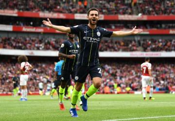 アーセナル戦でゴールを決め、喜ぶマンチェスター・シティーのベルナルド=12日、ロンドン(ゲッティ=共同)