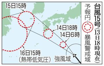 台風15号の予想進路(13日18時現在)