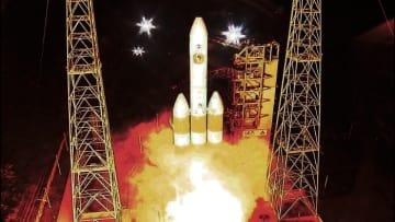 先端に「パーカーソーラープローブ」を搭載した、デルタⅣヘビーロケット、リフトオフ (c) NASA