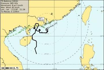 8月14日午前5時(現地時間)時点の台風16号(バビンカ)の位置と予想進路(図版:SMG)