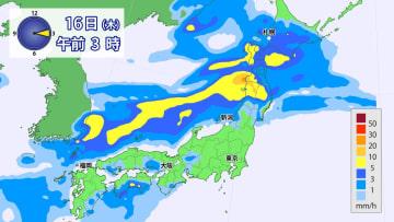 16日午前3時の雨の予想