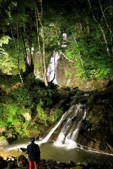 ライトアップされ、幻想的に浮かび上がる滝=高山市国府町宇津江、宇津江四十八滝