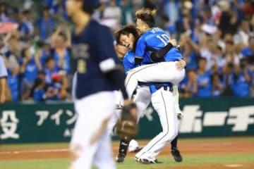 サヨナラ勝利に喜ぶ西武の選手たち【写真:荒川祐史】