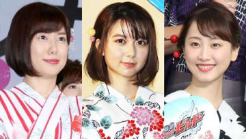 (左から)山崎夕貴アナウンサー、上白石萌歌さん、松井玲奈さん