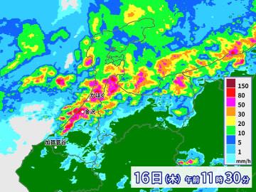 石川県で1時間に約100ミリの猛烈な雨 記録的短時間大雨情報
