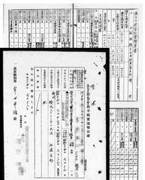 兵庫県公館の資料館で保管されていた個人名記載の資料。1人分の手術の実施報告書(左下)と、23人分の名前や疾患名の一覧表が見つかった(画像の一部を加工しています)
