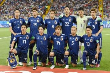サッカーW杯ロシア大会のベルギー戦の開始前、集合した日本の先発メンバー=7月2日、ロストフナドヌー