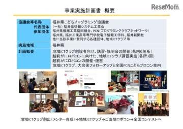「福井県こどもプログラミング協議会」事業実施計画書概要