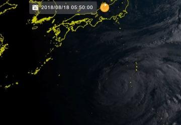18日午前5時50分現在の台風19号(ひまわり8号リアルタイムwebから)
