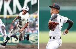 報徳の3番打者として活躍する長尾亮弥選手(左)、今大会全試合を完投している済美の山口直哉投手(右)=いずれも西宮市の甲子園球場