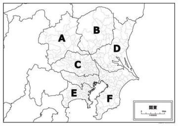 アンケート対象者に示された地図。A~Fのそれぞれの県名を聞いた