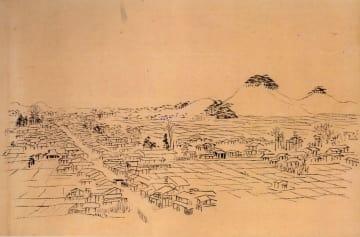 渡辺崋山が描いた町図(常葉美術館提供)