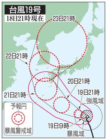 台風19号の5日先予想進路(18日21時現在)