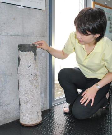 富津市に寄贈された軍艦の教練弾=富津埋立記念館