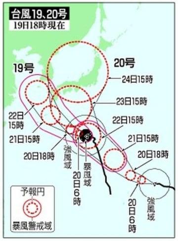 台風19号、夜大東接近 20号も発生、今月8個目
