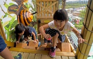 アスレチックを楽しむ子どもたち=19日午前11時5分、茂木町桧山