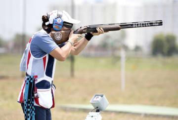 女子クレー・トラップで予選20位の中山由起枝(日本クレー射撃協会提供・共同)