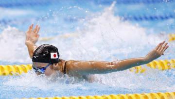 女子50メートルバタフライ決勝 優勝した池江璃花子=ジャカルタ(共同)