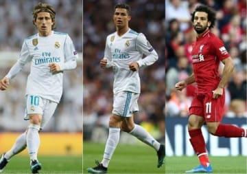 最終候補にノミネートされたモドリッチ(左)、ロナウド(中)、サラー(右)photo/Getty Images