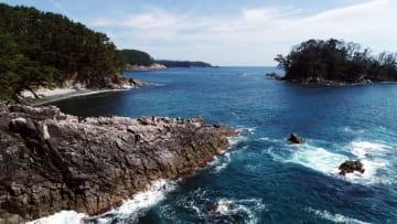 広田崎(左)から望む太平洋と青松島(右奥)。自然が織りなす絶景を爽やかな潮風が吹き抜ける=20日、陸前高田市広田町(本社小型無人機で撮影)