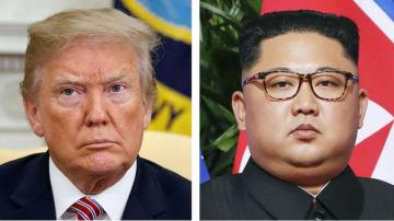 トランプ米大統領、北朝鮮の金正恩朝鮮労働党委員長(ともにAP=共同)