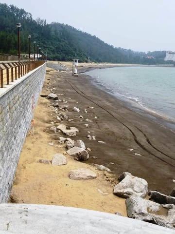 ハクサビーチで砂の流失が確認されたエリア(写真:DSAMA)