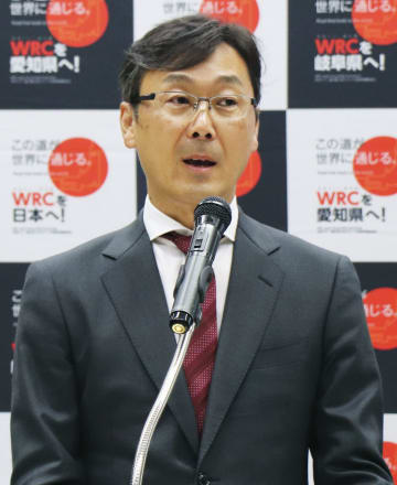 記者会見する、WRCの日本開催を目指す日本ラウンド招致準備委の高橋浩司氏=22日午後、東京都内