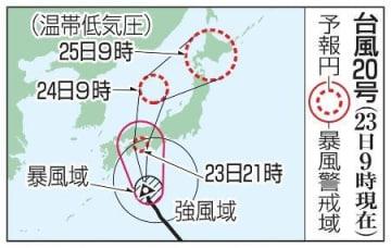 台風20号の予想進路(23日9時現在)